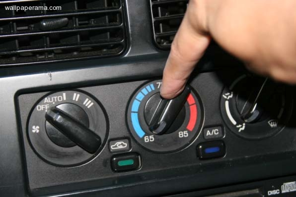 car air conditioner controls. start engine and set a/c to max cool. meaning go inside your car turn on the air conditioner put it maximum cool allowed so its at controls